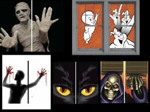 Halloween Window Posters Casper Yellow Eye Cat Mummy Bloody Screamer Grim Reaper
