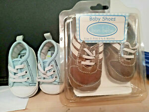 Bon bebe Baby boy shoes newborn 3-6 months new in box brown blue 2 pair