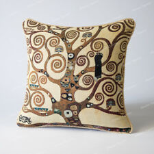 "Jacquard Weave Tapestry Pillow Cushion Cover Gustav Klimt-Tree of Life 18x18"" US"