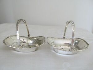 Two Antique Sterling Silver Small Baskets - Condiment Size ?
