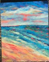 THE SEA Original Acrylic Abstract Landscape Beach Ocean Painting 16x20 Canvas NR