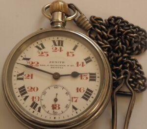 Vintage WW2 LARGE ZENITH GRAND PRIX PARIS 1900`s SWISS POCKET WATCH