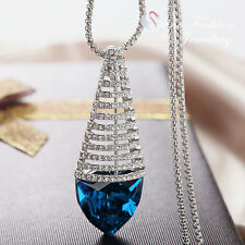 18K White Gold GP Made With Swarovski Crystal Gorgeous TrillionCut Long Necklace