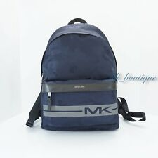 NWT Michael Kors Men Kent Backpack Travel Laptop Bag Nylon Camo Indigo Blue Grey
