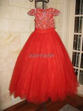Tiffany Princess 13527 Red Stunning Girls Pageant Party Gown Dress sz 8