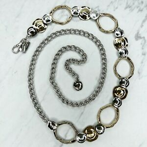 Chico's Silver & Gold Tone Abstract Hammered Metal Belly Body Chain Link Belt OS