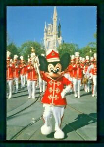 Postcard Disney World Drum Major Mickey Mouse Leads the Band Down Main Street. Z