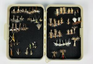 Fishing Flies Assorted Lot of Approximately 60 W/Box Variety of Kind and Size