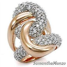 Micro Pave Set Cz Cubic Zirconia Swirl Cocktail Wedding Ring Rose Gold gp Size 8