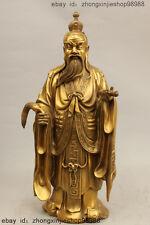 """16"""" Chinese Taoism Copper Tai Shang Laojun Taoist priest Buddha God Statue"""
