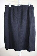 Dana Buchman Silk & Linen Blend Black Floral Lined Pencil Skirt Size - 16