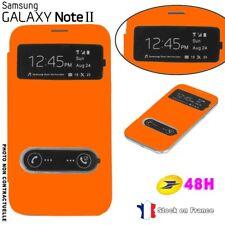Flip Cover Fenêtre Orange Samsung Galaxy Note 2 Film Offert