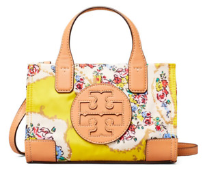 Tory Burch Micro Ella Print Tote Crossbody Satchel ~NWT~ YELLOW PORCELAIN FLORAL