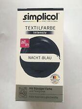 """Simplicol Textilfarbe intensiv all in 1 -Flüssige Rezeptur """"Nacht-Blau"""" Neu!"""