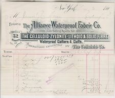 1891 BILLHEAD - ALLIANCE WATERPROOF FABRIC CO - NYC - CELLULOID ZYLONITE LITHOID