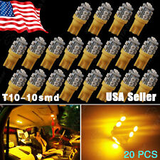 20X Amber Yellow T10 Wedge Side 10SMD LED Interior Light W5W 158 192 168 194 147
