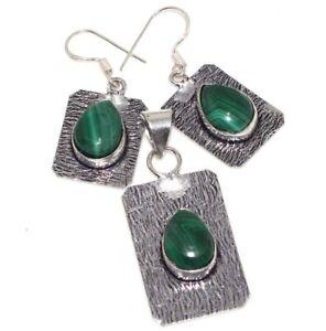 Malachite 925 Silver Plated Handmade Pendant Earrings Set Unique Jewelry GW