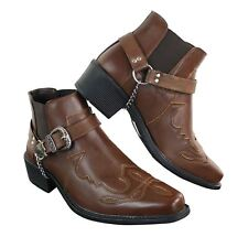 Mens Western Cowboy Riding Ankle Boots Texas Line Dancing Buckle Slip On