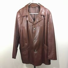 Vintage Mens Brown Leather Fight Club Motorcycle Rocker Jacket Coat Sz 44