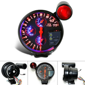 """5"""" Car Tachometer Tacho Gauge Meter + Oil Water Temp Pressure Gauge Meter"""