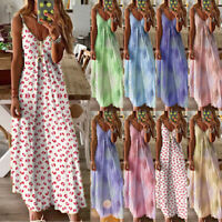 Womens Fitted Casual Swing Maxi CAMI Floral Ladies Strappy Sundress Long Dress
