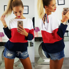 Fashion Womens Long Sleeve Baggy Top Blouse T Shirt Ladies Casual Lace Up Tops