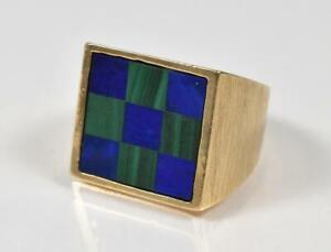 Mens Lapis & Malachite 14K Yellow Gold Ring Size 7 Checker Board Design