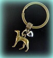 GREYHOUND Dog w/ Heart KEYCHAIN Jewelry - Art Nouveau Art Deco Antique Style