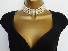 "Absolutely Beautiful Faux Pearl Choker Necklace & Stud Earring Set 14 - 16"" Long"