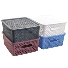 New 2x Multi-Purpose Plastic Storage Basket w Lid Home Office Storage 14.5L