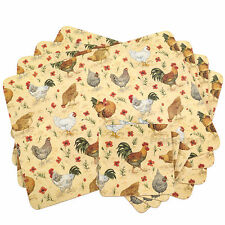 Set of 4 Placemats & Coasters Cream Chickens Cork Backed Dining Table Tablemats