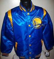 GOLDEN STATE WARRIORS  REVERSIBLE Satin Jacket M L XL 2X BLUE & YELLOW