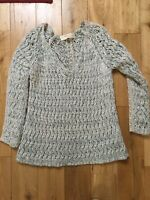 Zara Grey Blue Lace Trim V Neck Cable Knit Wool Jumper Medium 12-14
