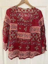 Denim & Supply Ralph Lauren Women's Red 3/4 Sleeve Boho Tunic Blouse - S - EUC!
