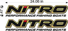 "NITRO Boats Logo / PAIR / 24"" Vinyl Vehicle Fishing Graphic Decal Stickers"