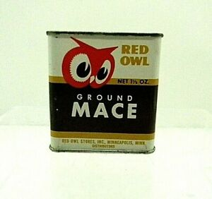 Vintage 1940s Red Owl Spice Tin Ground Mace 1oz For display only