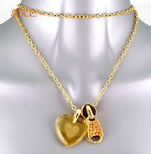 Gold Plt Frosted Etched Chic Yellow Glass Heart & Bling Sparkle Zip Pull Pendant