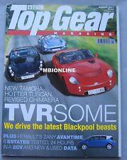 Top Gear 08/2001 featuring Ford Puma, Subaru Impreza, TVR Tamora, Tuscan, Mini