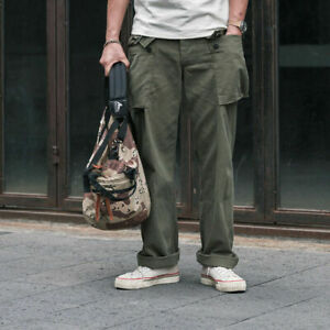 Mens P-44 Monkey Trousers Vintage Military Pants Army Green