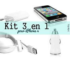 Kit 3 en 1 Chargeur pour iPhone 4 Câble Usb + Chargeur secteur +Chargeur Voiture