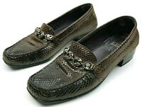 Stuart Weitzman 8 Shoes Brown Slip On Loafers Leather Snake Skin Square Toe