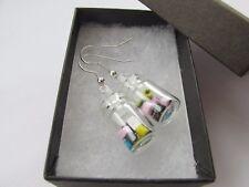 Handmade Unusual Glass Jar of Sweets ~ Liquorice Allsorts Novelty Earrings