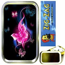 PINK NEON BUTTERFLY SMOKING SET, GOLD 1oz TOBACCO TIN, ROLLING PAPERS & FILTERS