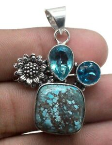 """925 Sterling Silver Copper Turquoise & Topaz Gemstone Jewelry Pendant Size-1.80"""""""