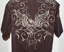 En4orce Art Wing II Big Mens Brown Cotton Casual Shirt Size 3XL Embroidered Prin