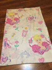 Vintage Ballerina Barbie Ballet Twin Flat Bed Sheet 1995 Fabric Craft Shoes Pink