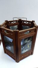 ANTIQUE JAPANESE LIGHT SHADE CARVED TIMBER GLASS PHOTOGRAPHIC PANELS GEISHA FUJI