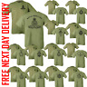 PRINTED ARMY Olive Green TSHIRT Double Sided CAP BADGE HM RE Para REME RGR RAMC