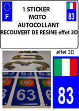 1 sticker plaque immatriculation MOTO DOMING 3D RESINE ITALIE DEPARTEMENT 83