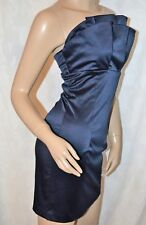 ASOS Size 8 Lovely Navy Stretch Satin Pleated Bust Cocktail Party Dress CLEAN